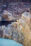 Close-up disparado de lagos da cratera de Kelimutu Fotos de Stock Royalty Free