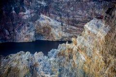 Close-up disparado de lagos da cratera de Kelimutu Fotografia de Stock Royalty Free
