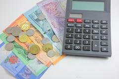 Close up disparado do ringgit Malásia e da calculadora Imagem de Stock