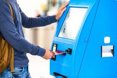 Close-up display at self-service transfer machine Royalty Free Stock Photo