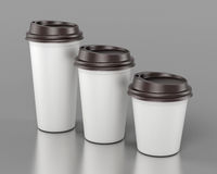 Close-up disposable plastic cups of different sizes. 3d renderin Stock Images