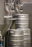 Close-up of distillery and keg. At bewery royalty free stock photography