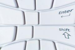 Close-up distorcido branco do teclado do portátil Fotos de Stock