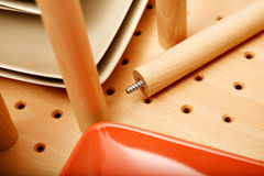 Divider in drawer for dishes Royalty Free Stock Images