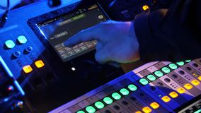 Close up of dj control panel playing party music on modern player in disco club. Nightlife and entertainment concept royalty free stock images