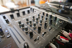 Close-up of DJ mixer Stock Photos
