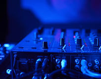 Close up on DJ's  mixette in night club Stock Photography