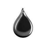 Close-up do óleo preto da gota isolado no fundo branco Fotografia de Stock Royalty Free
