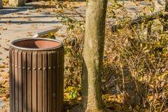 Close up do balde do lixo de madeira Foto de Stock Royalty Free