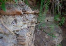 Close up do banco de rio com solo e a crosta velha fotografia de stock royalty free