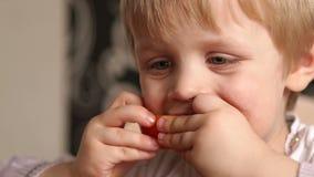 Close up do bebê pequeno que come uma laranja madura cortada vídeos de arquivo