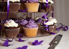 Close up do bolo de casamento - grupo de queques coloridos Foto de Stock Royalty Free