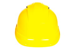 Close up do capacete protetor amarelo no fundo branco Foto de Stock