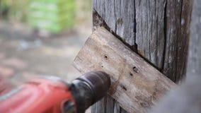 Close up do carpinteiro que usa o equipamento para reparar a mobília filme