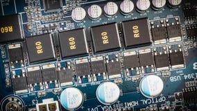 Close-up do circuito eletrônico, cartão-matriz do computador Fotos de Stock