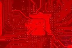 Close up do circuito eletrônico vermelho do cartão-matriz com processador Foto de Stock