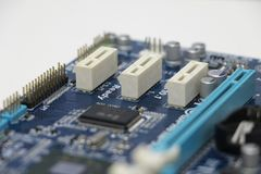 Close-up do componente do cartão-matriz do computador Imagens de Stock