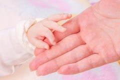 Close-up do dedo da matriz da terra arrendada da mão do bebê Imagem de Stock Royalty Free