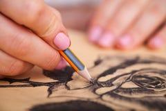 Close up do desenho na mesa fotografia de stock