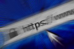 Close up do endereço do HTTP no web browser nas máscaras do azul Imagem de Stock