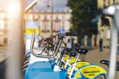 Close-up do estacionamento da bicicleta Imagens de Stock Royalty Free