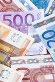 CLOSE UP DO EURO - CÉDULAS DA UNIÃO EUROPEIA Imagens de Stock