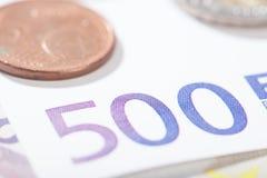 Close up do Euro em 500 números Fotografia de Stock