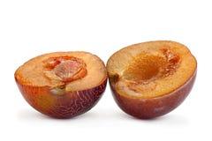 Close up do fruto da ameixa de Brown fotos de stock royalty free