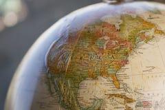 Close-up do globo dos EUA Fotos de Stock