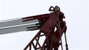 Close-up do guincho do guindaste de cabo do metal video estoque