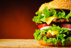 Close up do Hamburger Imagens de Stock