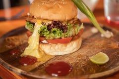 Close up do hamburguer feito home Imagens de Stock
