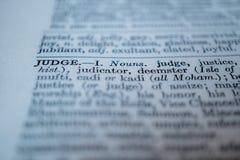 Close up do juiz da palavra fotografia de stock