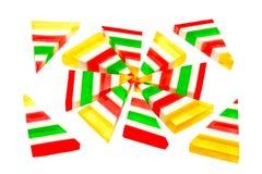 Close-up do jujuba listrado colorido dos doces Imagem de Stock