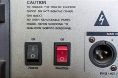 Close-up do lado traseiro dos amplificadores de potência imagem de stock royalty free