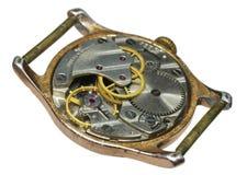 Close up do mecanismo velho do relógio Fotos de Stock Royalty Free