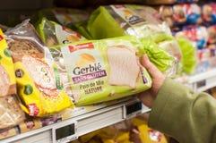 Close up do pão sem glúten no supermercado de Cora Fotografia de Stock Royalty Free