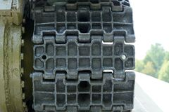 Close-up do passo de Caterpillar do tanque Imagens de Stock Royalty Free