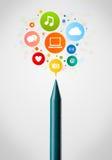 Close-up do pastel com ícones sociais da rede Imagens de Stock Royalty Free