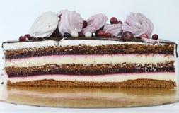 Close-up do pedaço de bolo apetitoso delicioso com bagas e fotografia de stock