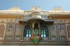 Close up do quadrado do pavão no palácio da cidade de Udaipur, India Imagem de Stock Royalty Free