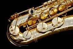 Close-up do saxofone do conteúdo Foto de Stock Royalty Free