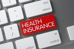 Close up do seguro de saúde do teclado ilustração 3D Imagens de Stock