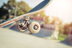 Close-up do skate no skatepark Imagem de Stock Royalty Free