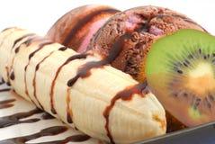 Close-up do split de banana imagem de stock royalty free