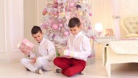 Close-up do tiro de crianças felizes, dois irmãos que estão considerando presentes, sentando-se no quarto acolhedor com árvore de filme