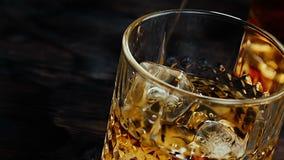 Close-up do uísque de derramamento do empregado de bar no vidro com os cubos de gelo na tabela de madeira vídeos de arquivo