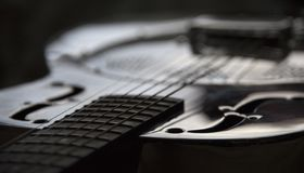 Close up of dobro guitar stock photo