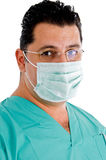 Close up of doctor with eyeglasses and face mask Stock Images