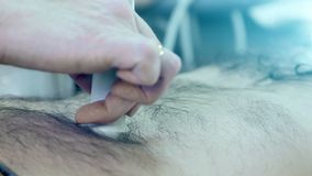 Close-up of doctor hand doing medical ultrasound.  stock video